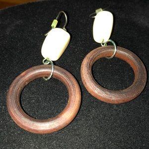 Cream colored bead wood ring pierced earrings